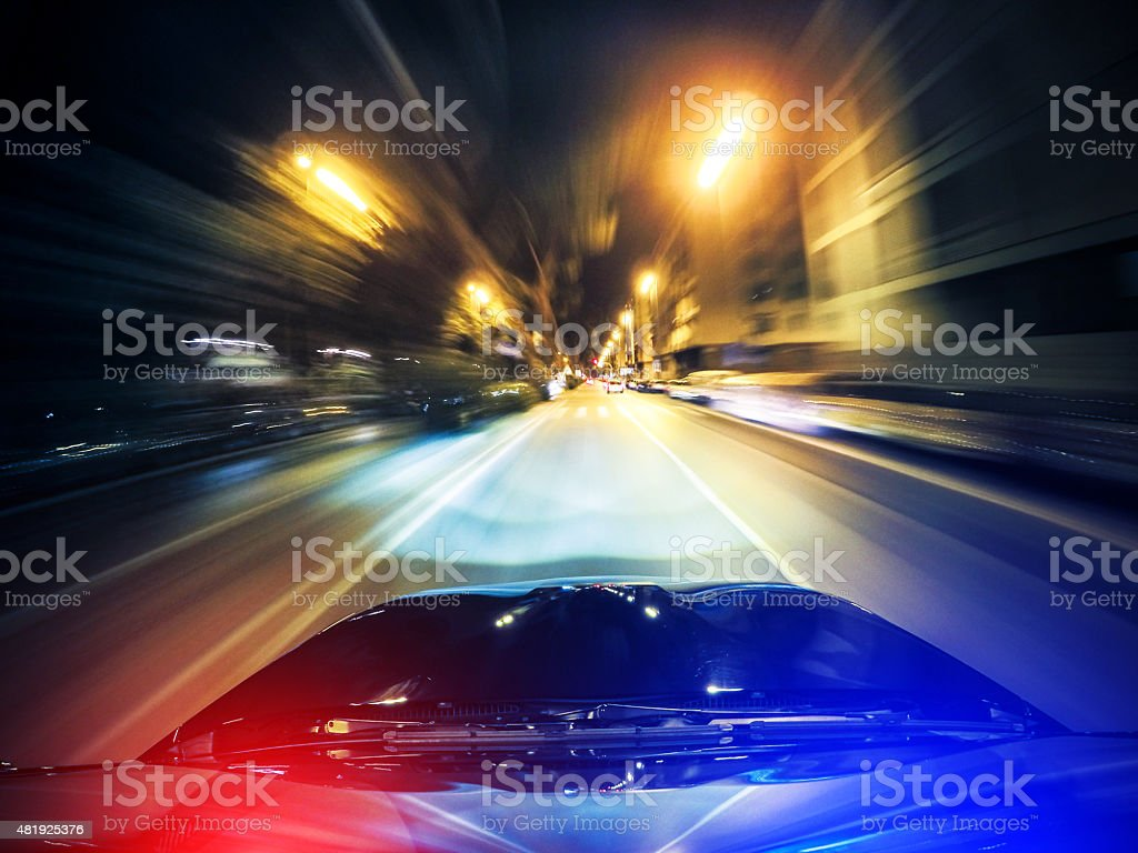police chasing on the city stock photo