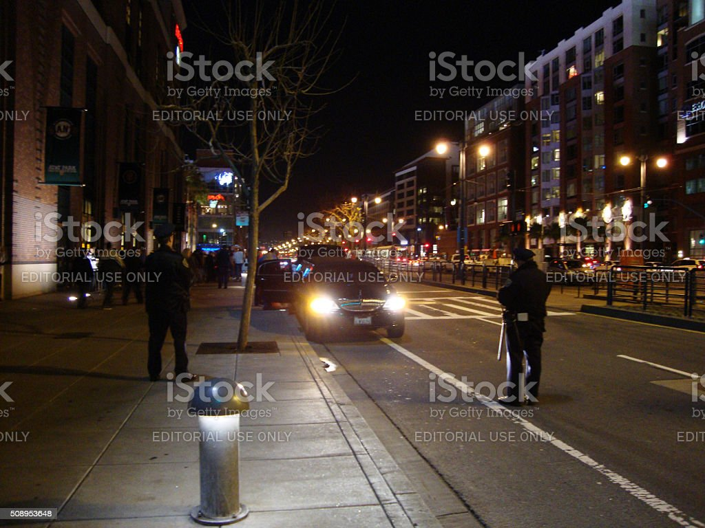 Police check out Limo parked in Bike lane stock photo
