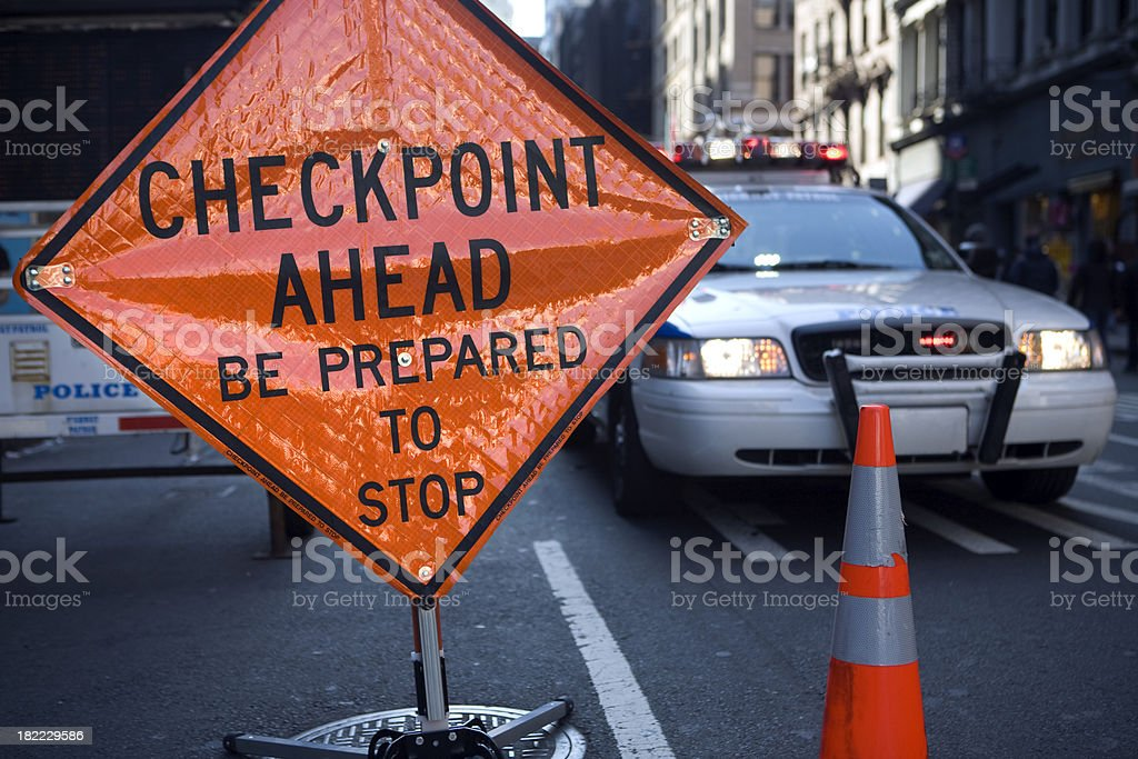 police checkpoint stock photo