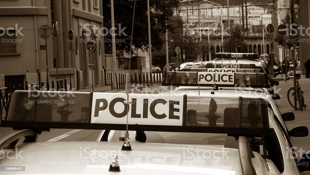 police convoy stock photo