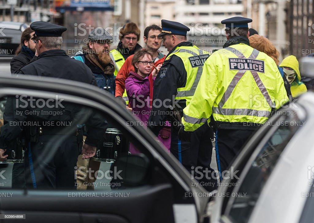 Police Corral Protestors stock photo