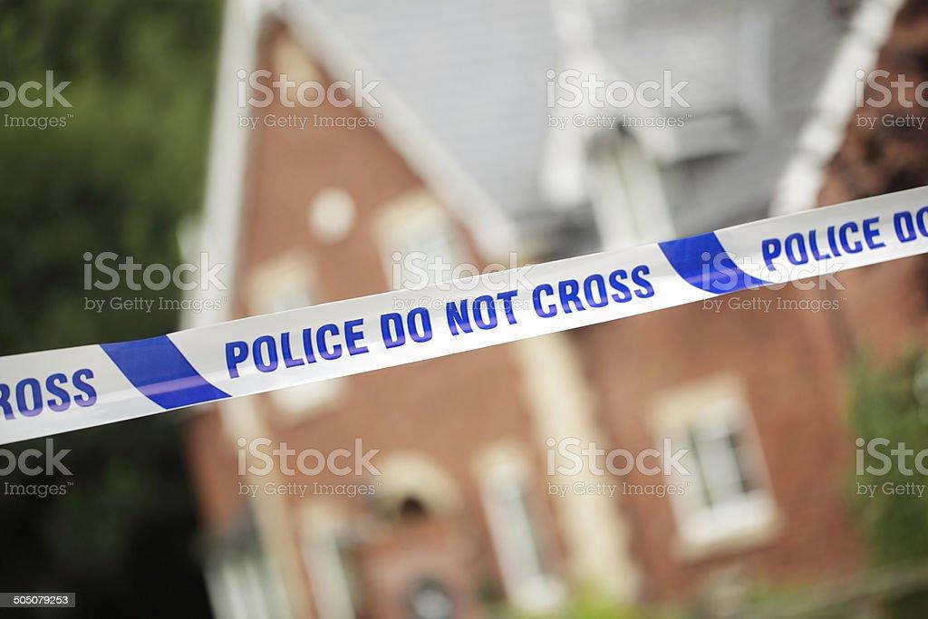 Police crime scene in front of house stock photo