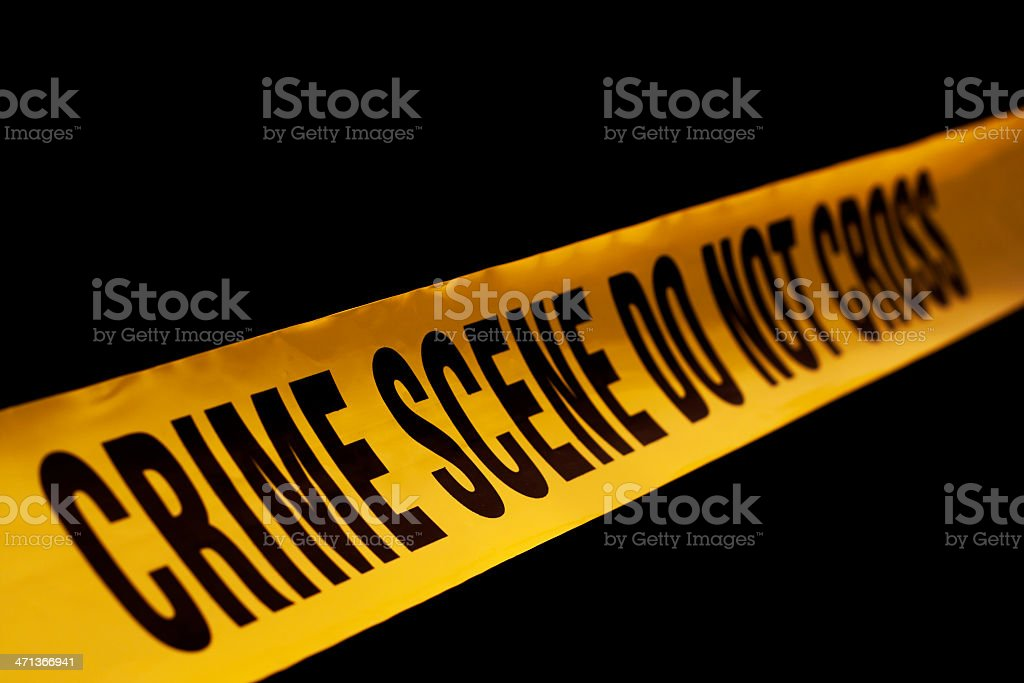 Police crime scene tape yellow stock photo