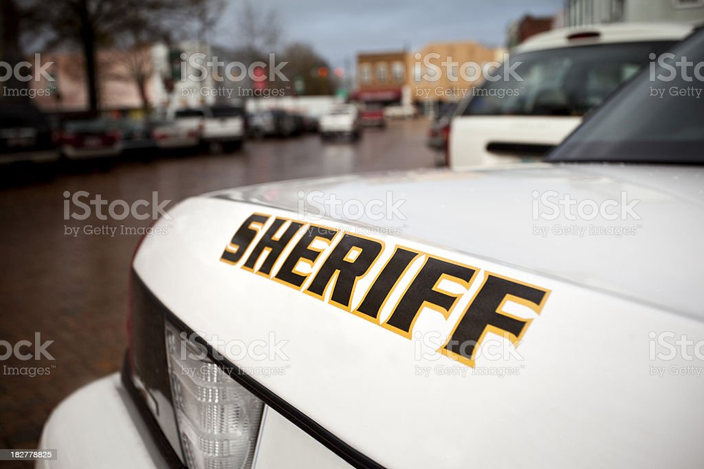 Police cruiser on the street stock photo