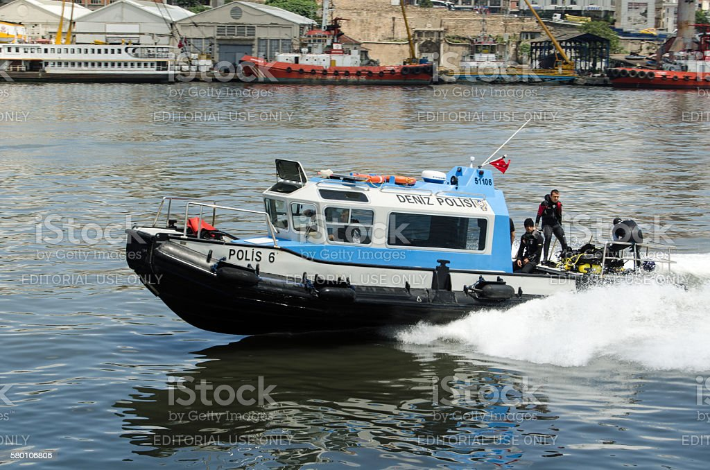 Police divers, Golden Horn, Istanbul stock photo
