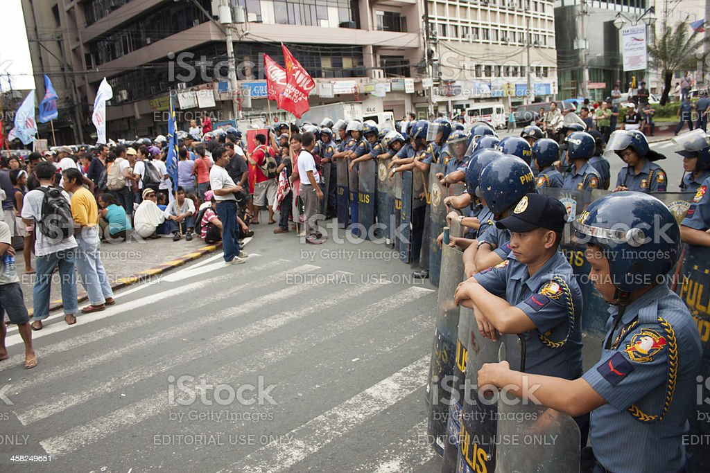 Police during the 114th Philippines independence day stock photo