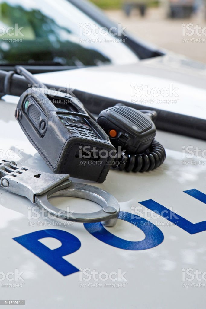 police equipment on a  police car stock photo