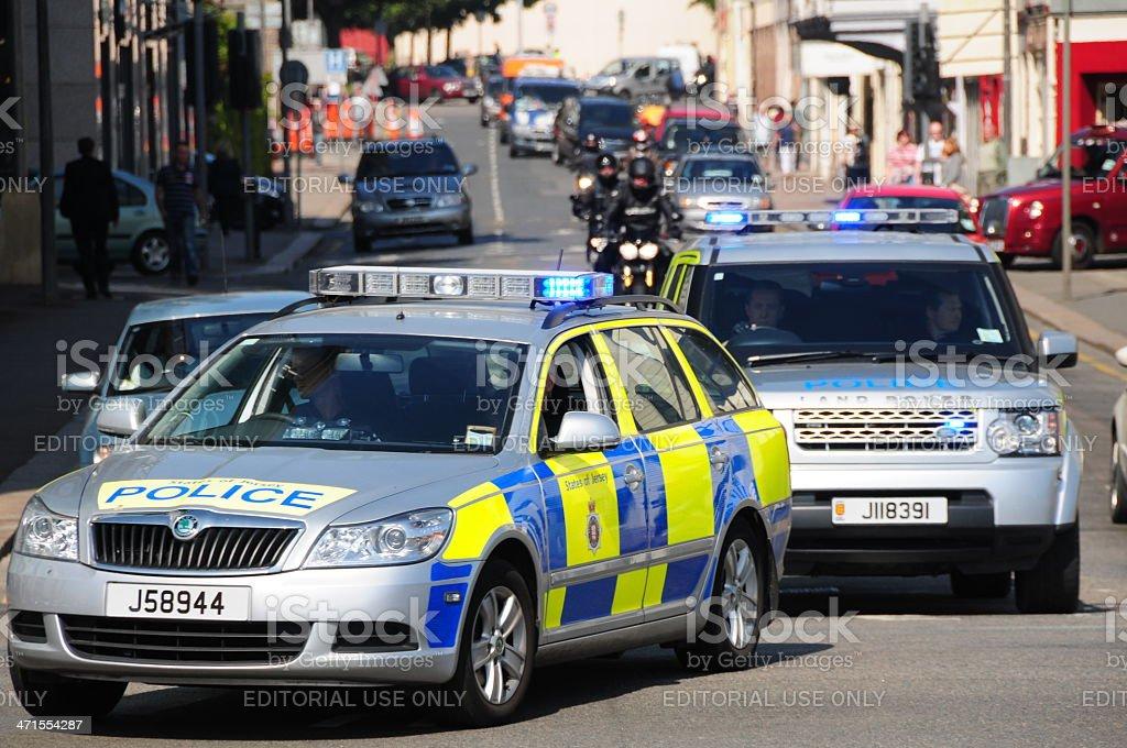 Police escort, Jersey. stock photo