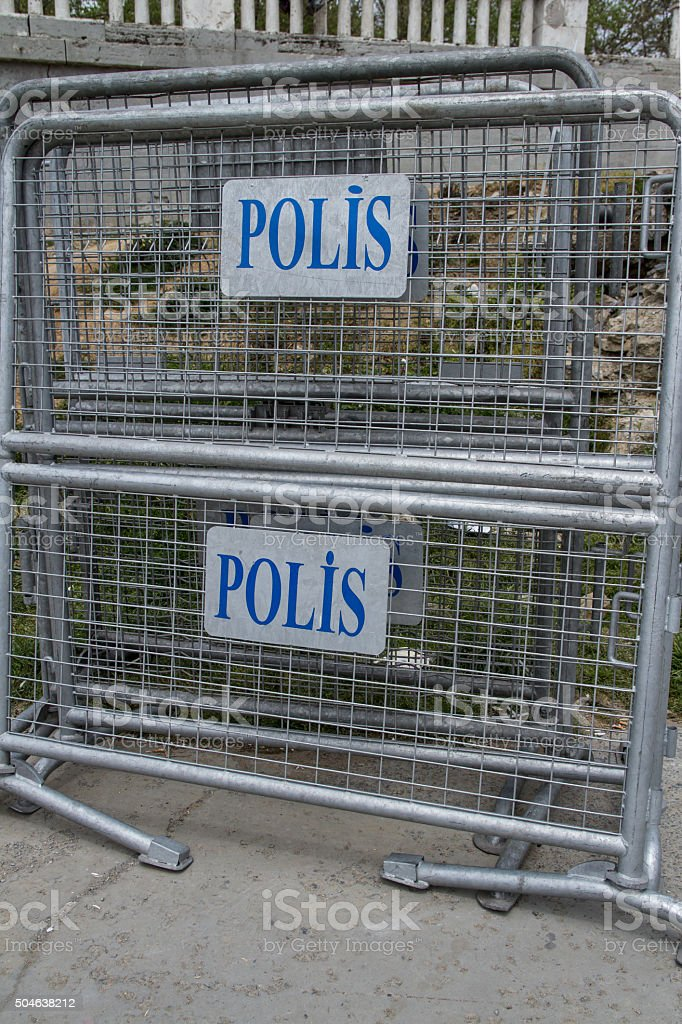 Police Fence in Istanbul, Turkey stock photo