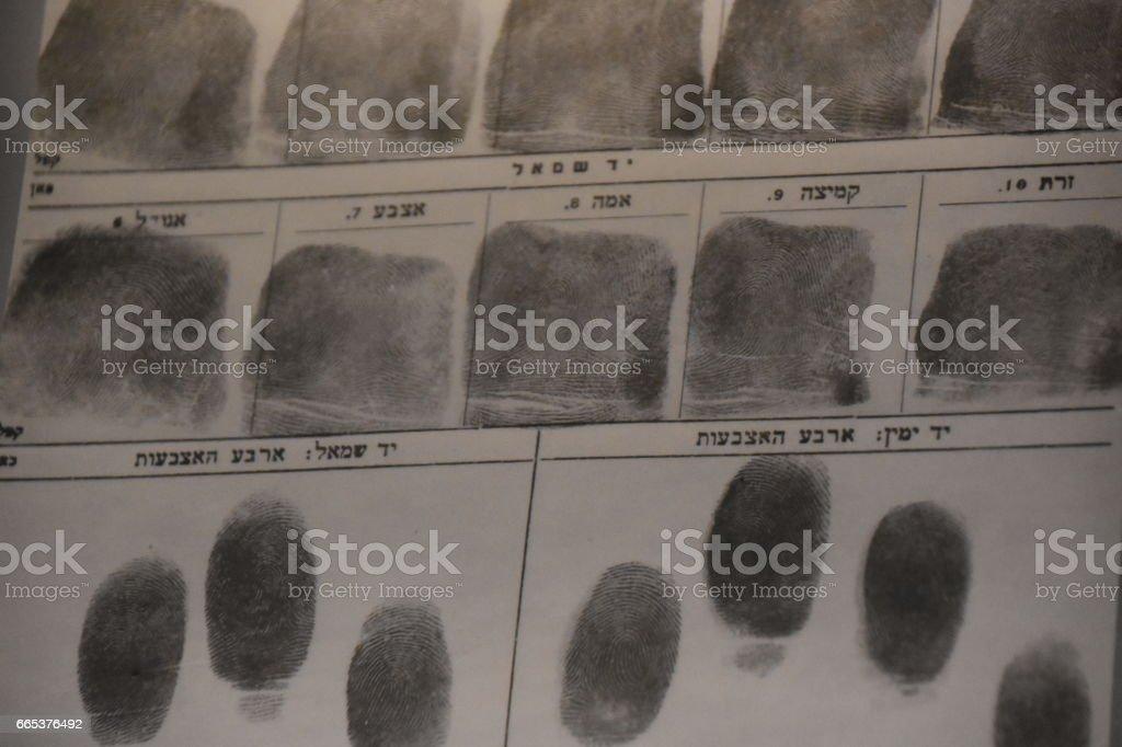 Police fingerprints stock photo