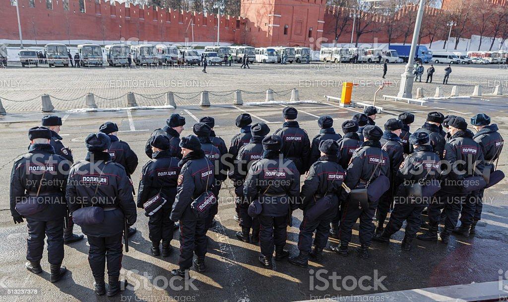 Police forces providing an order on procession stock photo
