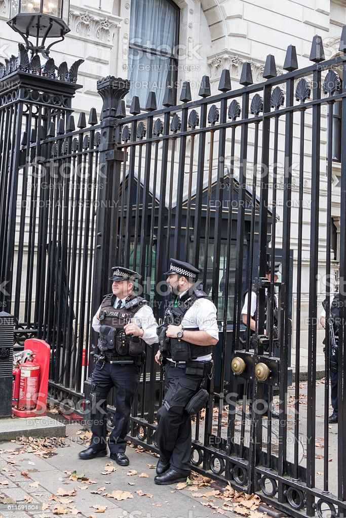 Police guards  at downingstreet 10 in London, UK stock photo