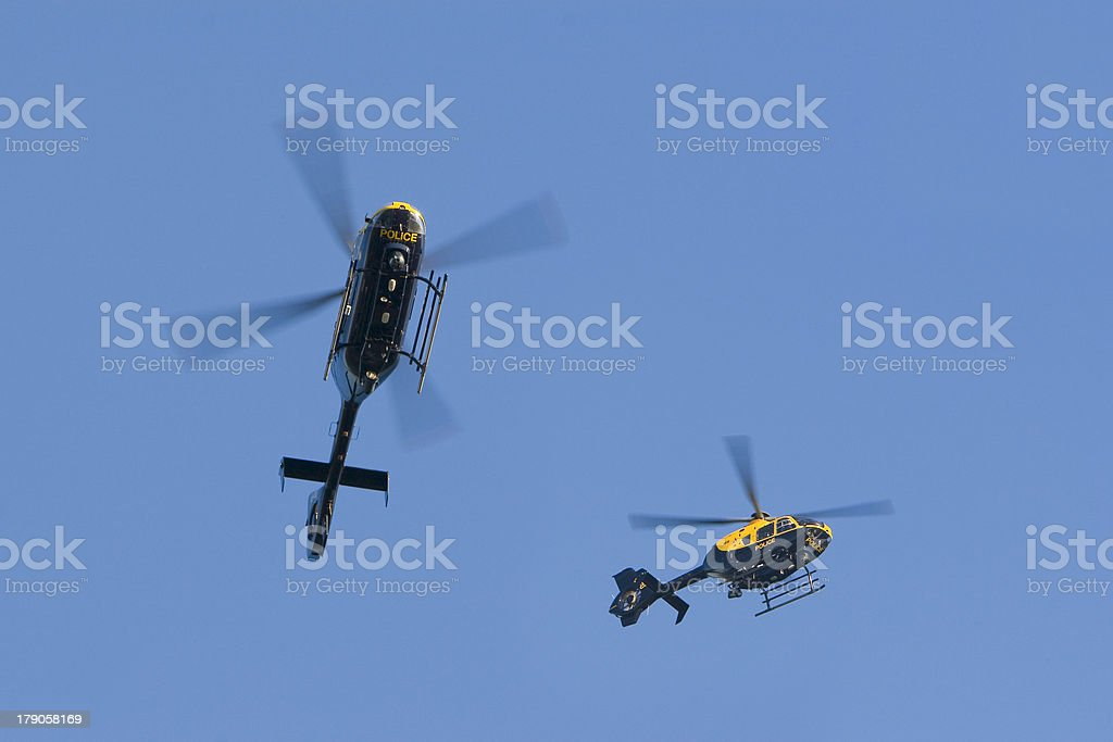 police helicopters stock photo