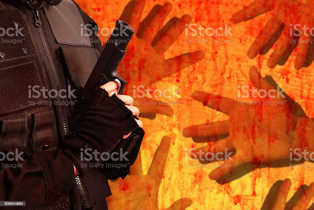 police hold gun stock photo