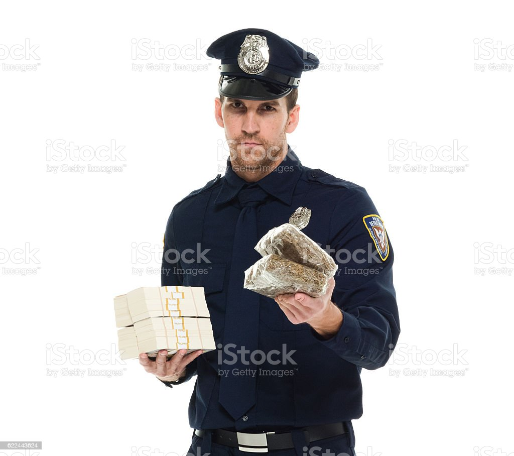 Police holding money and drug stock photo