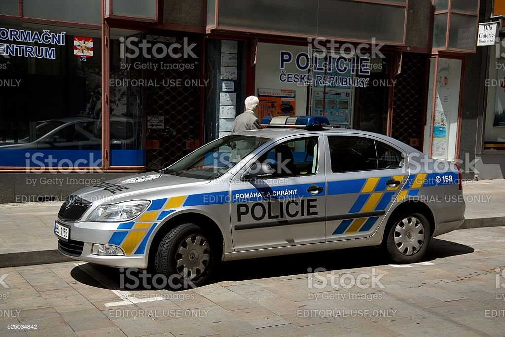 Police in Brno in the Czech Republic with police car stock photo