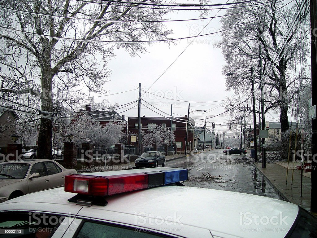 Police in Disaster royalty-free stock photo