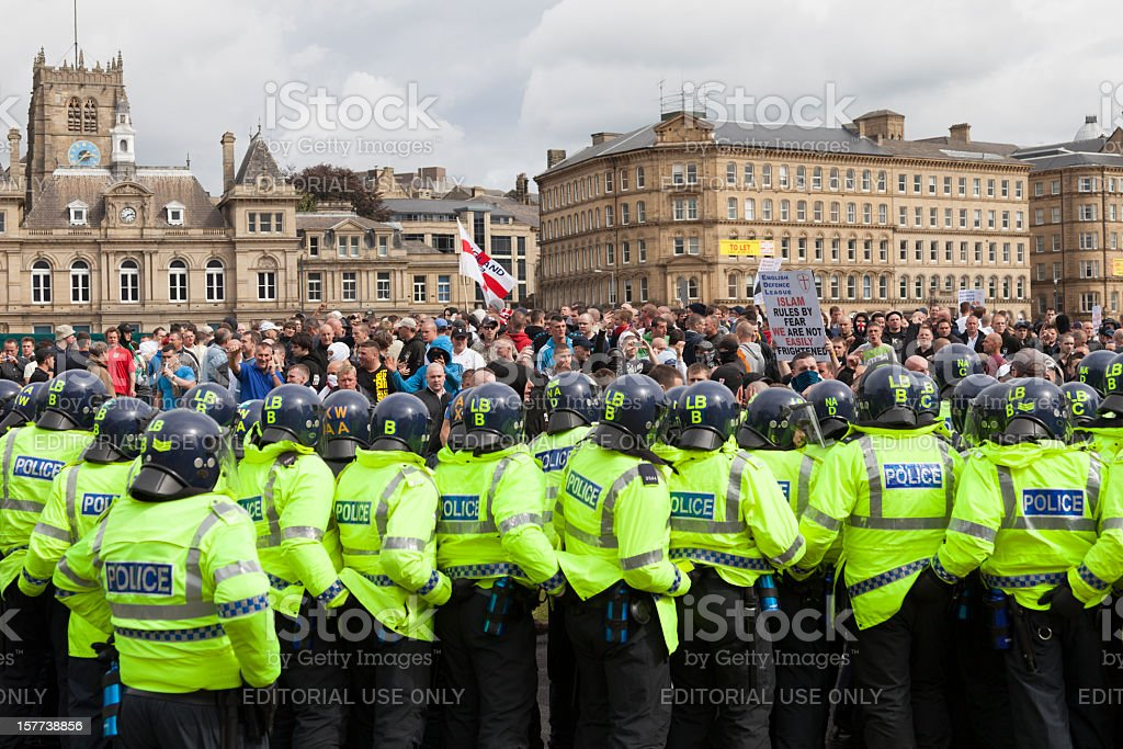 Police in riot gear at the English Defence League rally stock photo