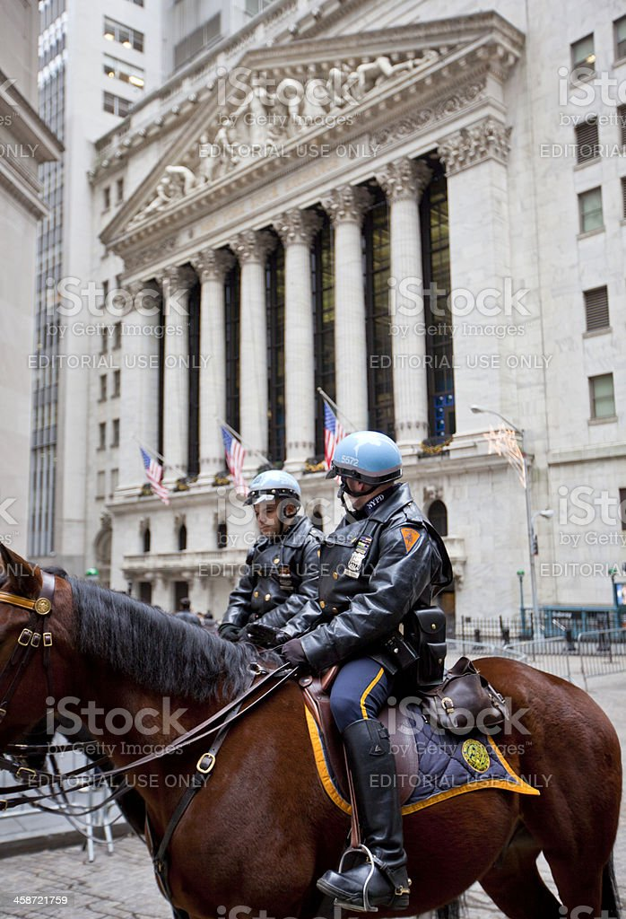 Police in Wall Street stock photo