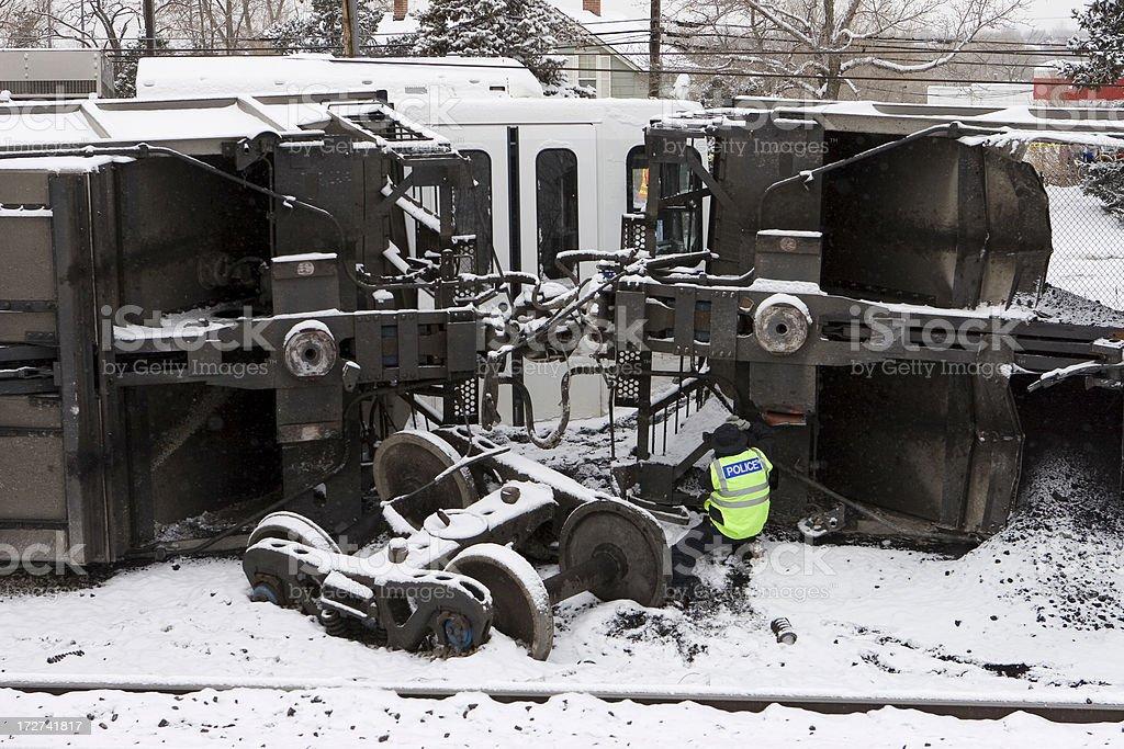 Police investigate coal train and light rail crash stock photo