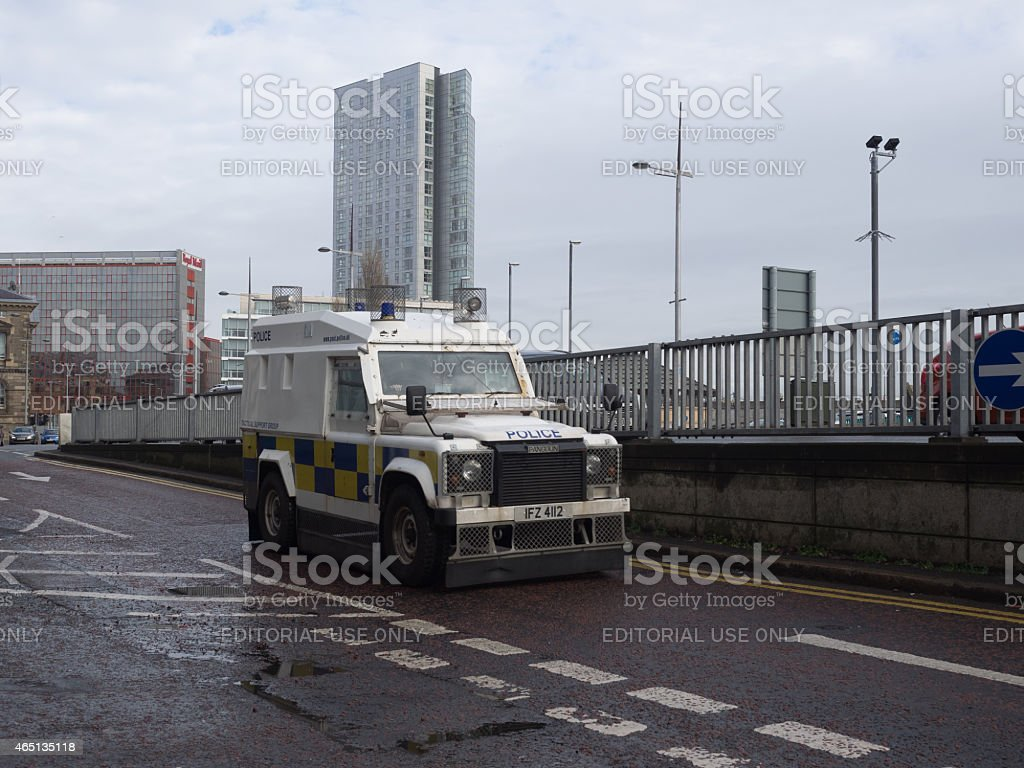 Police Land Rover in Belfast, Northern Ireland. stock photo
