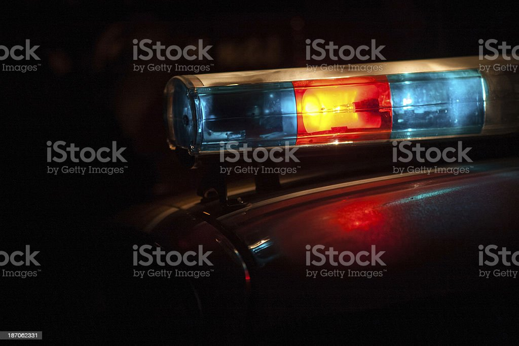Police lights and sirens stock photo