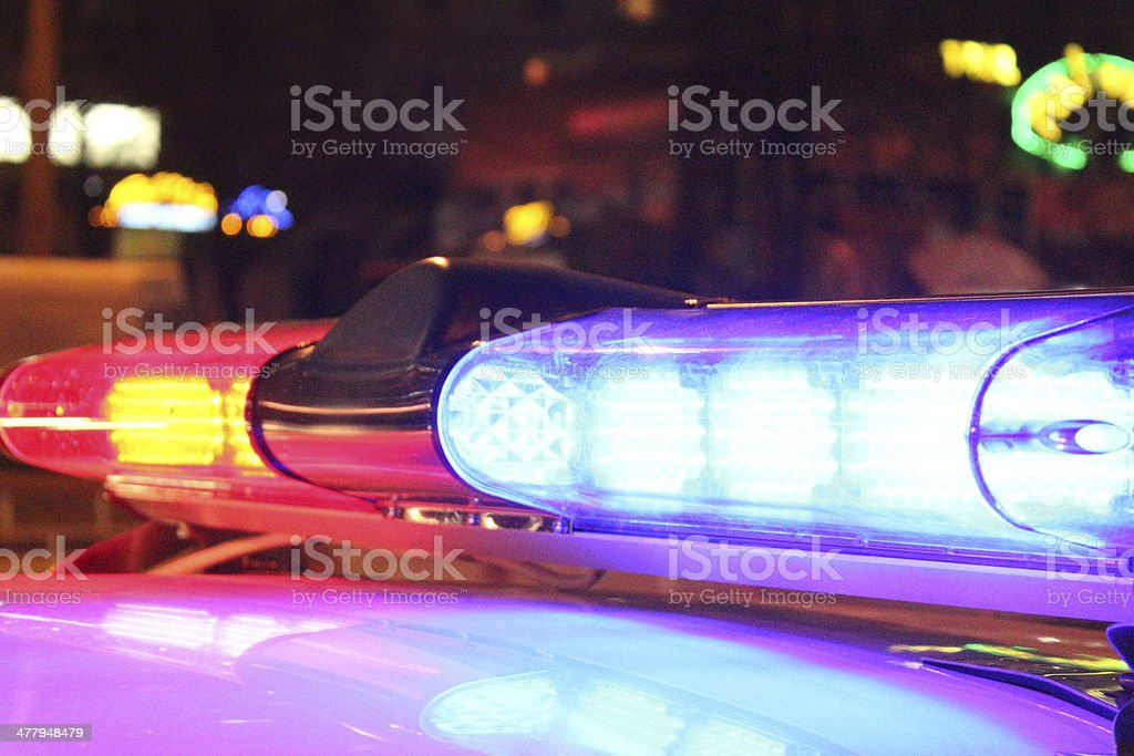 Police lights by night stock photo