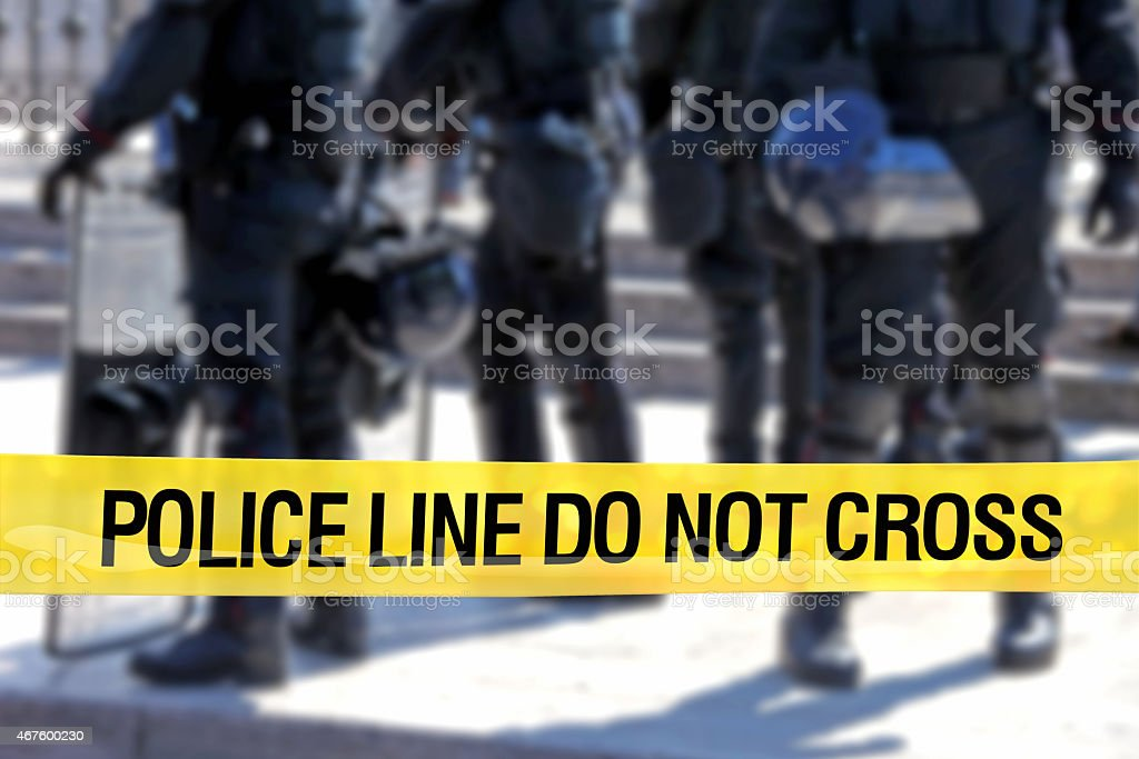Police line do not cross: riot control special forces stock photo