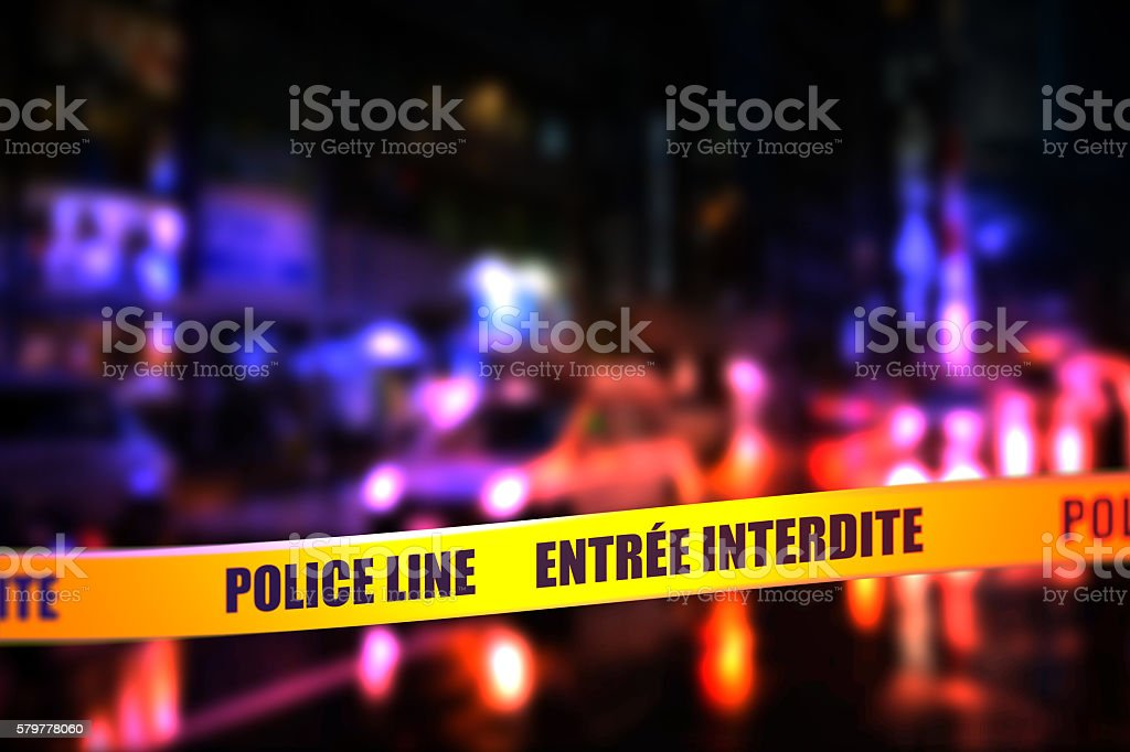 Police Line Do Not Cross Tape - French stock photo