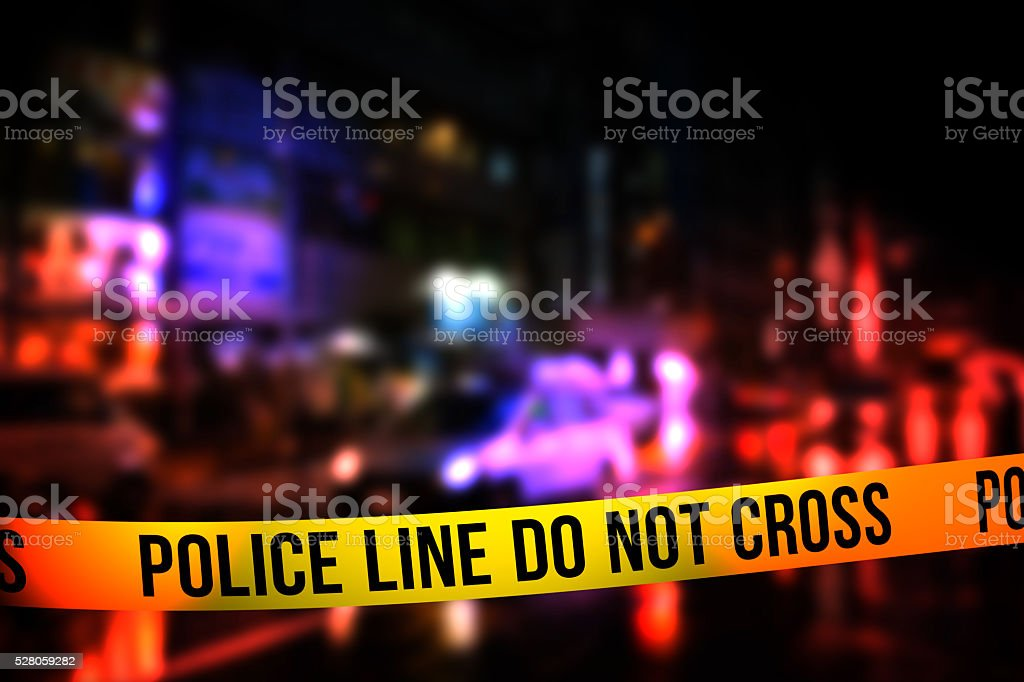 Police Line Do Not Cross Tape stock photo
