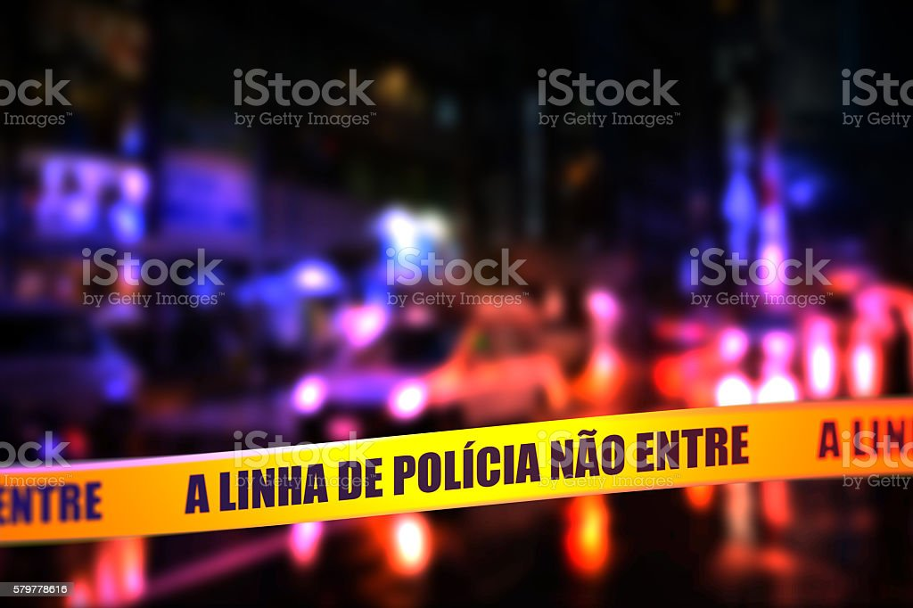 Police Line Do Not Cross Tape - Portuguese stock photo