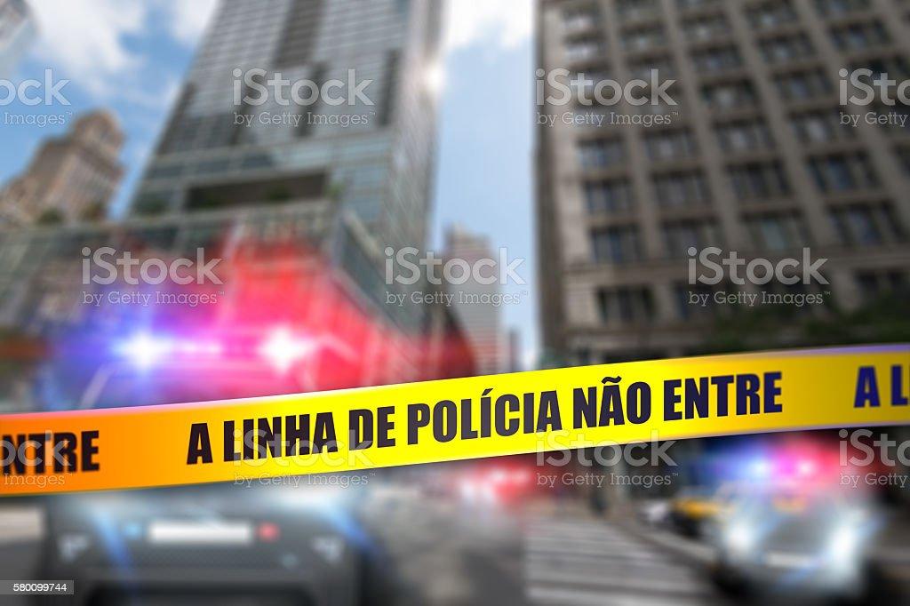 Police Line Do Not Cross Tape - Portuguese stock photo