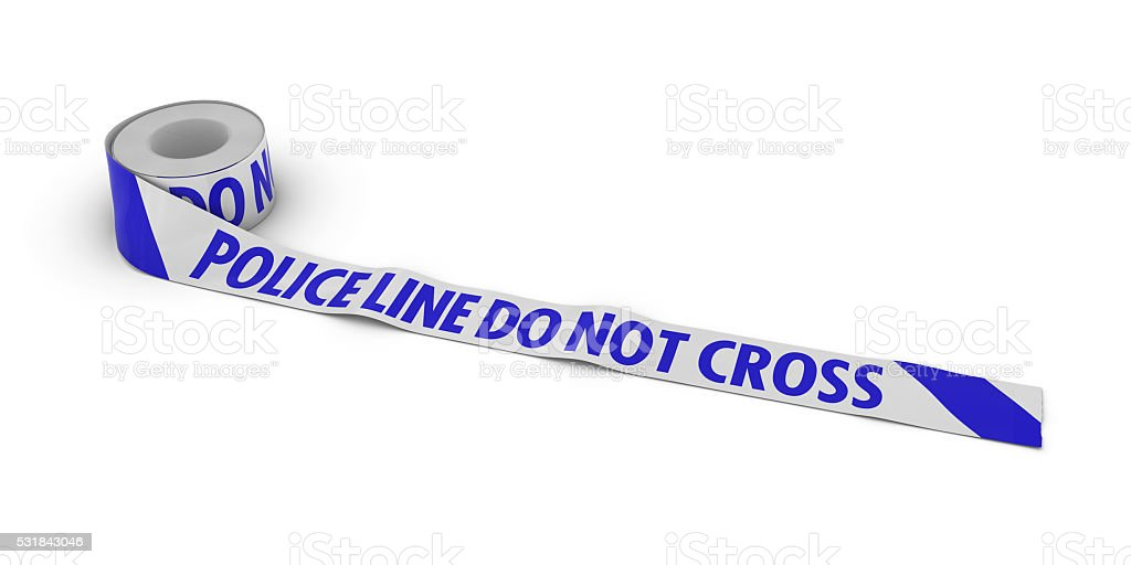 Police Line Do Not Cross Tape Roll unrolled across white stock photo