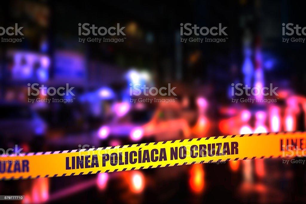 Police Line Do Not Cross Tape - Spanish stock photo