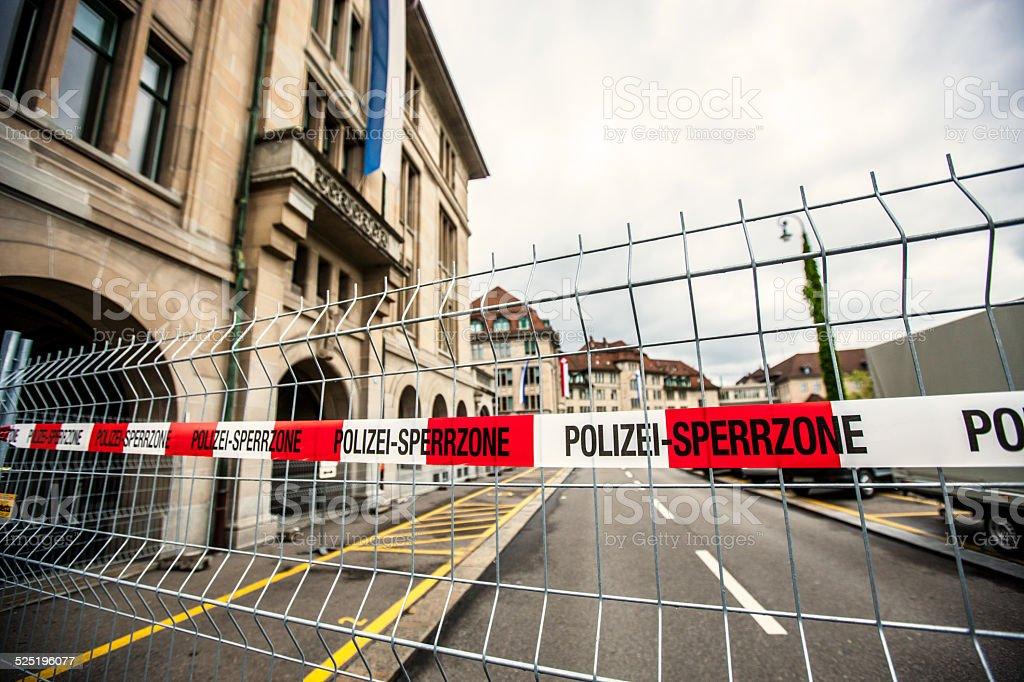 Police line on Zurich Street, Switzerland stock photo