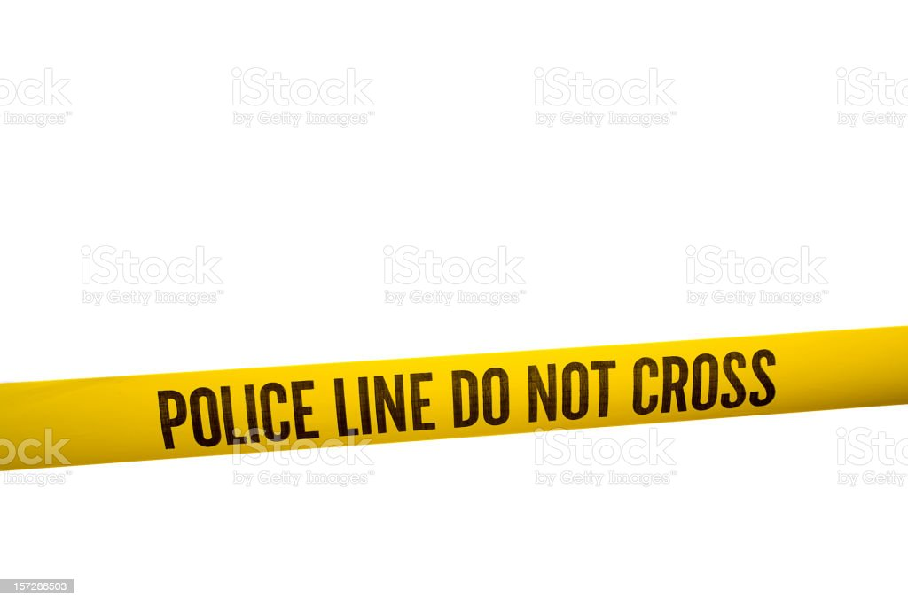 Police Line Tape with Clipping Path stock photo