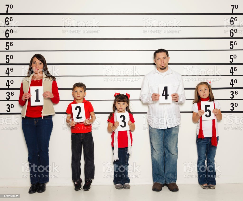 Police Line-Up of a Family royalty-free stock photo