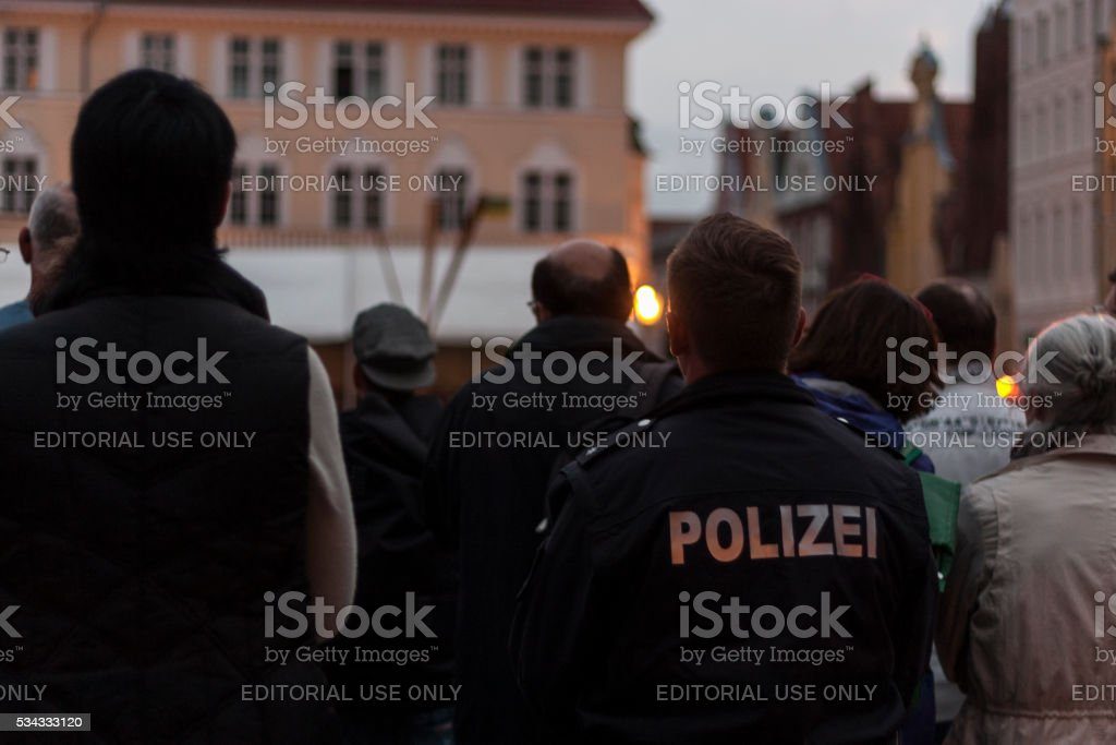 Police man attending a swearing-in ceremony in Stralsund stock photo