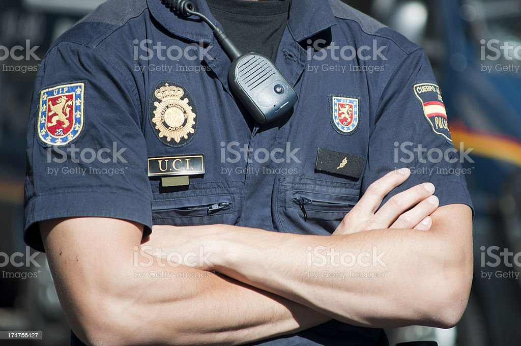 Police man with a blue uniform stock photo