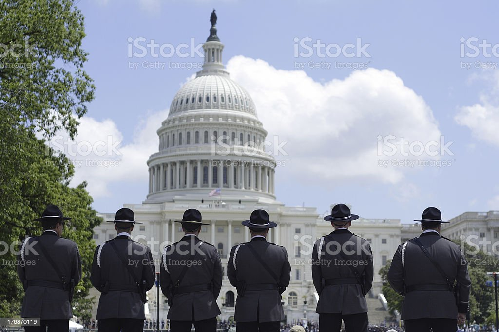 Police memorial at the Capitol stock photo