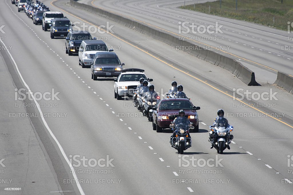 Police Memorial Motorcade Heading North 6-6-13 stock photo