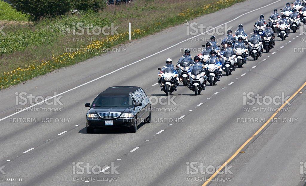 Police Memorial Motorcade Heading To Comcast Arena 6-6-13 stock photo