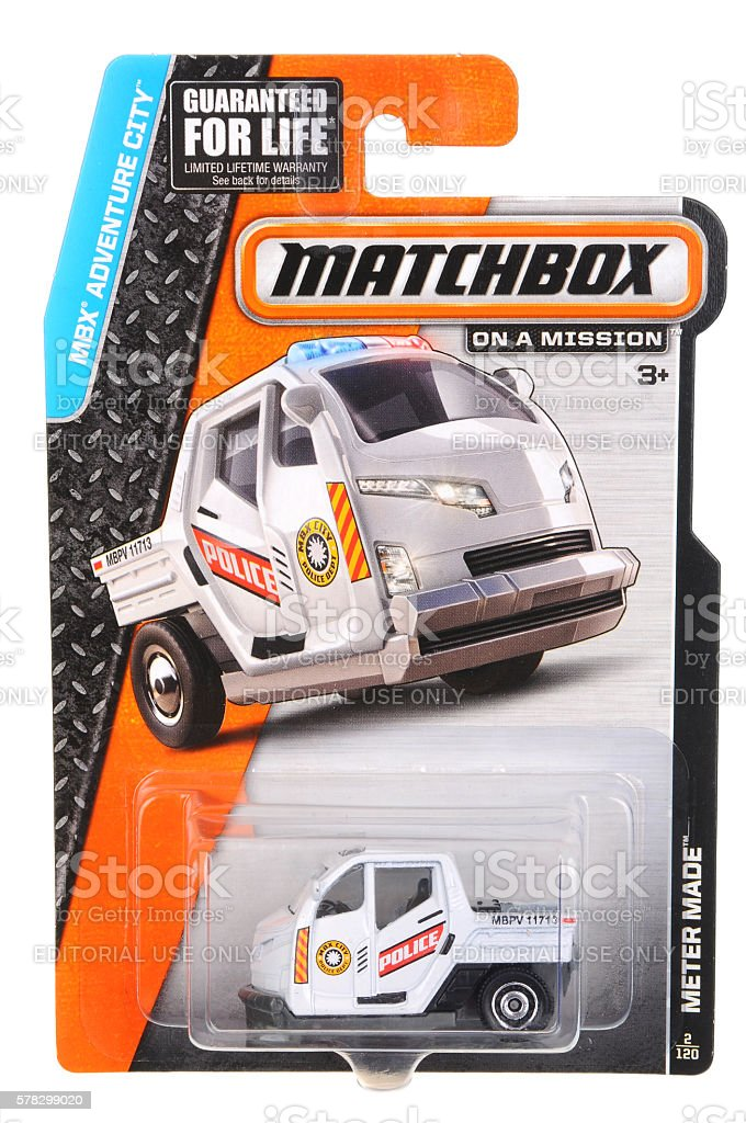 Police Meter Made Matchbox Diecast Toy Car stock photo