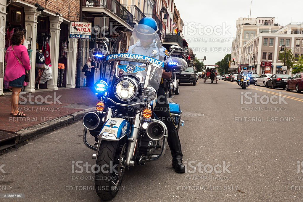 Police Motorcycle in New Orleans stock photo
