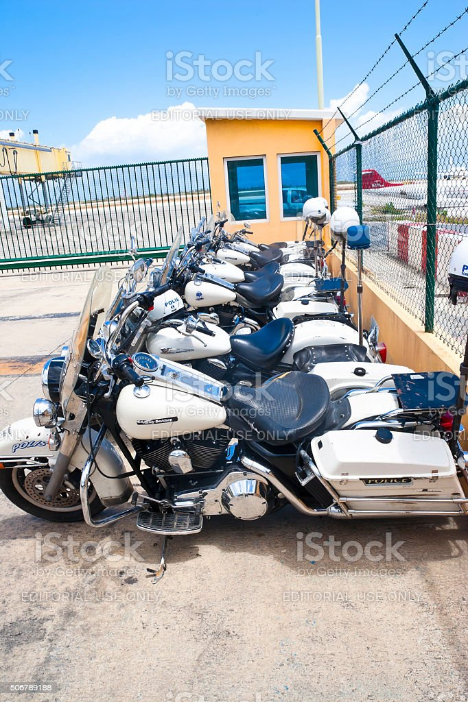 Police Motorcycles at an Airport stock photo