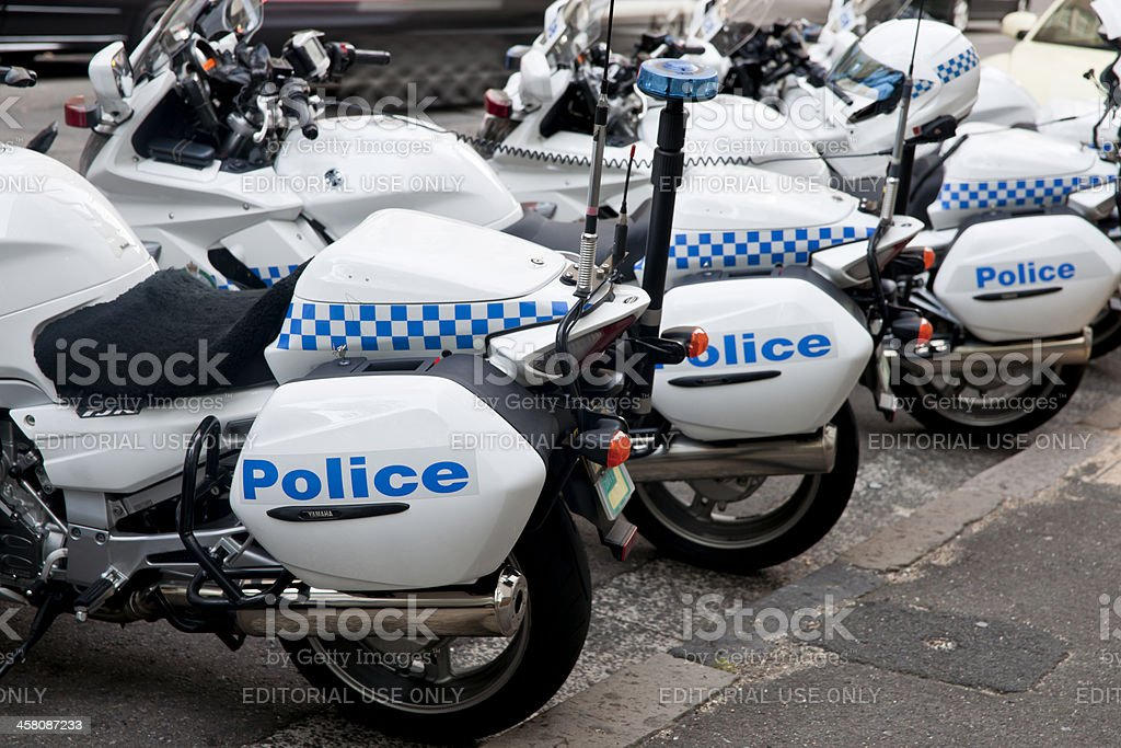 Police motorcycles parked, close up. stock photo