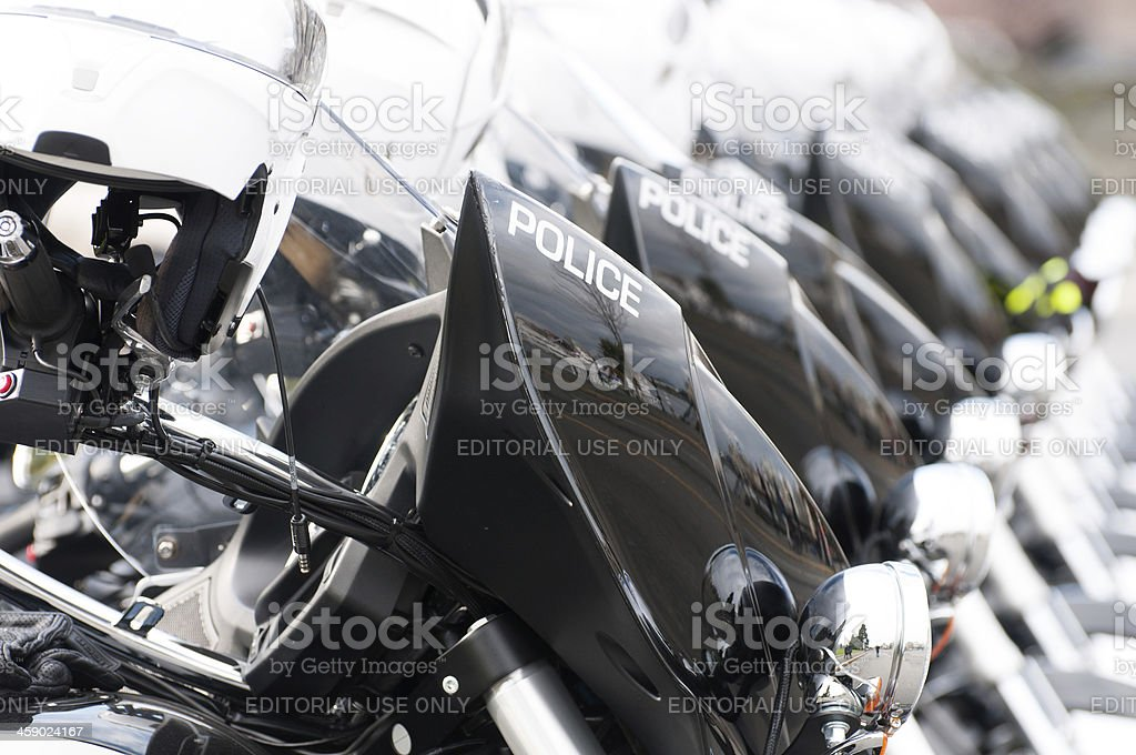 Police Motorcycles Parked In a Line royalty-free stock photo