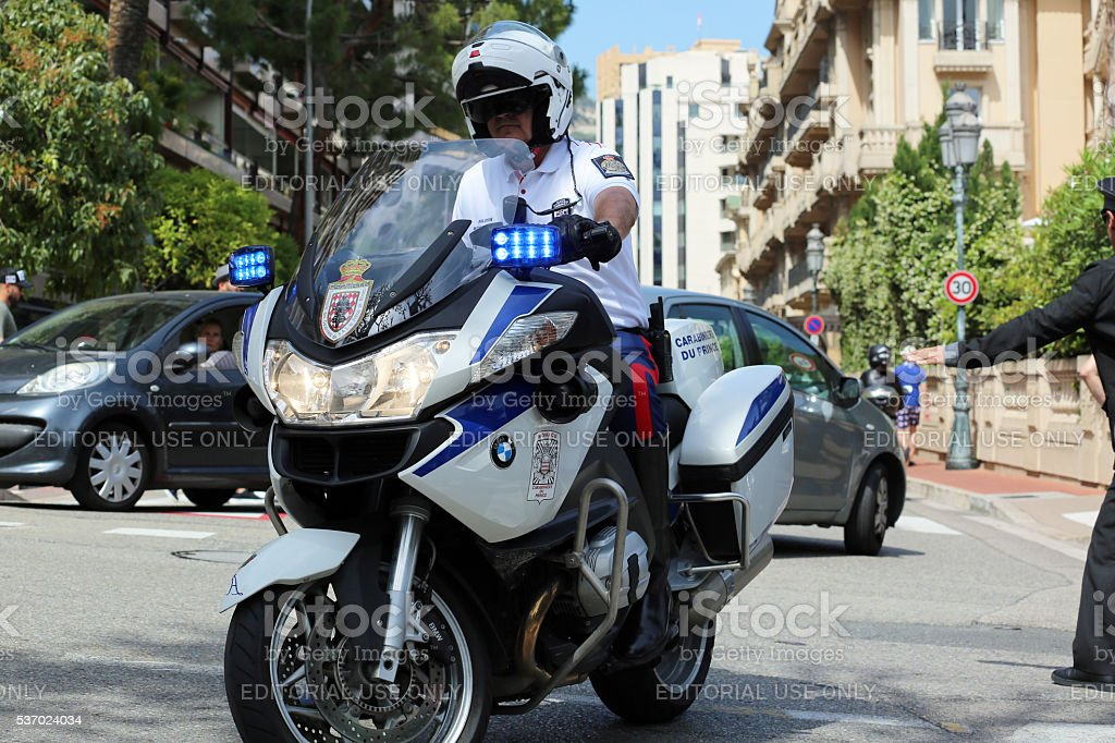 Police Motorcyclist Escort of the Prince of Monaco stock photo