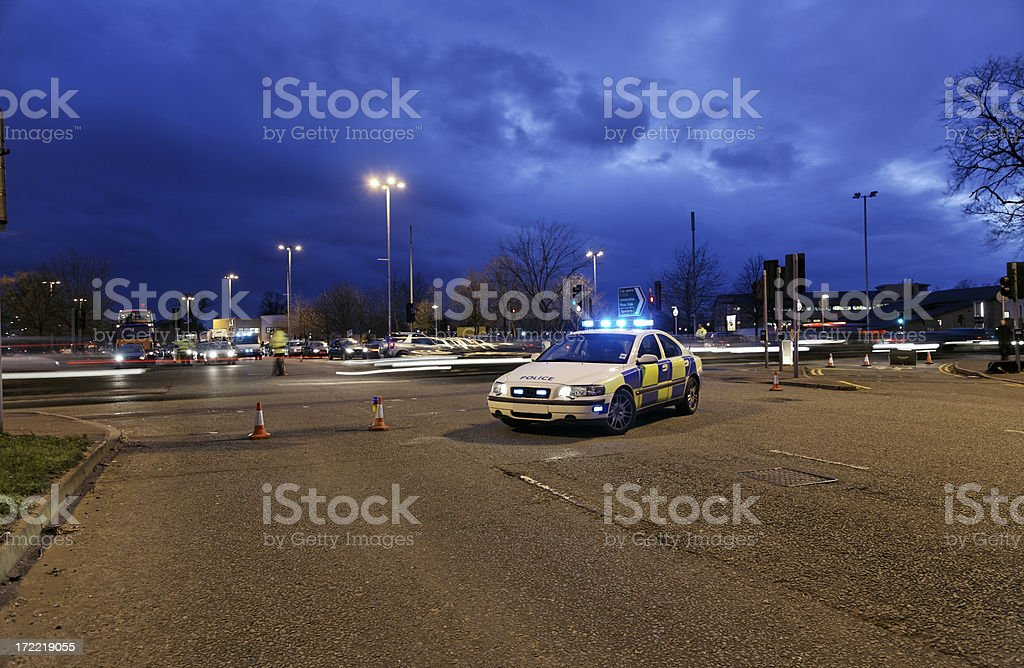 Police Nightime Roadblock. More below..... stock photo