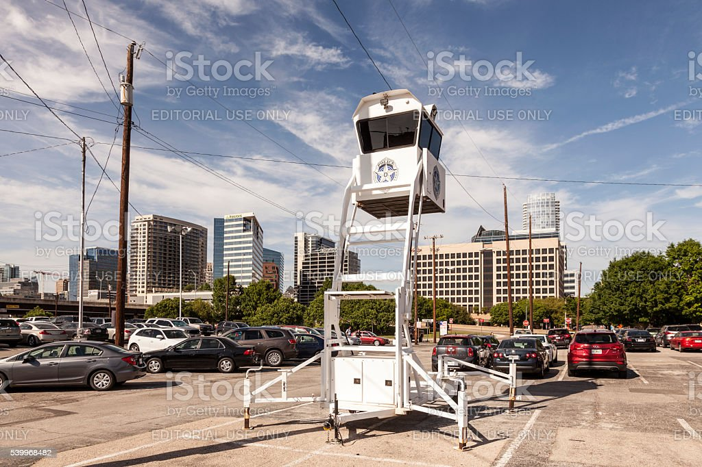 Police Observation Tower in Dallas, USA stock photo